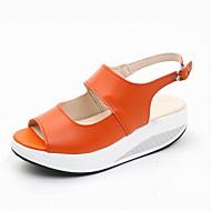 baratos Sapatos Femininos-Mulheres Sapatos Couro Sintético Verão Chanel Sandálias Creepers Laranja / Azul Escuro / Amarelo
