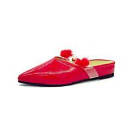 baratos Sapatos Femininos-Mulheres Sapatos Couro Ecológico Verão Conforto Tamancos e Mules Caminhada Sem Salto Dedo Apontado Penas Preto / Bege / Vermelho