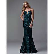 cheap -Mermaid / Trumpet Spaghetti Strap Sweep / Brush Train Sequined Sparkle & Shine Formal Evening Dress with Sequin by TS Couture®