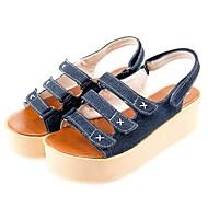 Femme Chaussures Toile de jean Eté A Bride Arrière Sandales Creepers Bout ouvert Noir / Bleu de minuit / Bleu clair