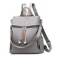 cheap High School Bags-Women's Bags Canvas / PU(Polyurethane) Backpack Zipper Black / Gray