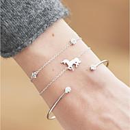 3 stuks Dames Kubieke Zirkonia Klassiek Armbanden met ketting en sluiting Armband Armband set Paard eenhoorn Dames Klassiek Modieus Elegant Armbanden Sieraden Goud / Zilver Voor Dagelijks Verjaardag