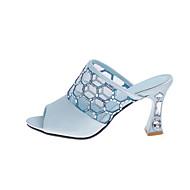 בגדי ריקוד נשים PU קיץ נוחות / בלרינה בייסיק סנדלים עקב עבה לבן / כחול