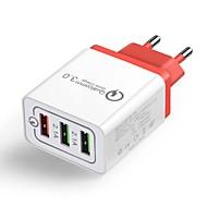 tanie -Ładowarka domowa / Ładowarka przenośna Ładowarka USB Wtyczka EU QC 3.0 3 porty USB 4.8 A 100~240 V na Univerzál