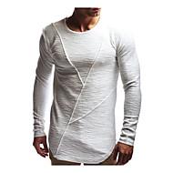 Hombre Básico Tallas Grandes Algodón Camiseta, Escote Redondo Delgado Un Color Blanco XL / Manga Larga / Verano