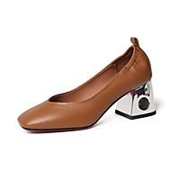 baratos Sapatos Femininos-Mulheres Sapatos Pele Napa Primavera / Outono Conforto Saltos Salto Robusto Ponta quadrada Preto / Bege / Castanho Claro