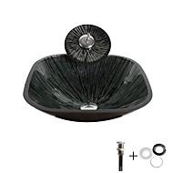 お買い得  洗面ボウル-洗面ボウル / 水栓 / 取付リング コンテンポラリー - 強化ガラス 方形