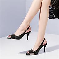 baratos Sapatos Femininos-Mulheres Pele Verão Plataforma Básica Sandálias Salto Agulha Peep Toe Preto / Prata