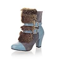 baratos Sapatos de Tamanho Pequeno-Mulheres Sapatos Couro Sintético Inverno Botas da Moda Botas Salto Robusto Ponta Redonda Botas Cano Médio Bege / Marron / Azul / Festas & Noite