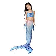 Den lille havfrue Aqua Prinsesse Badetøj Bikini Kostume Børne Pige Vintage Jul Halloween Karneval Festival / Højtider Lycra Blekk Blå Karneval Kostume Havfrue