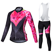 cheap -Malciklo Women's Long Sleeve Cycling Jersey with Bib Tights - White / Black Bike Tights / Clothing Suit, Breathable, 3D Pad, Quick Dry Coolmax®, Lycra Patchwork / High Elasticity / Plus Size