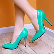baratos Sapatos Femininos-Mulheres Couro Envernizado Primavera Conforto Saltos Salto Agulha Vermelho / Verde / Azul / Diário