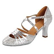 billige Moderne sko-Dame Moderne sko Lakklær Sandaler / Høye hæler Paljett / Spenne Kubansk hæl Kan spesialtilpasses Dansesko Sølv