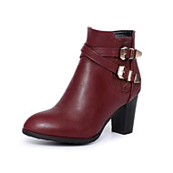 cheap -Women's Shoes PU(Polyurethane) Fall & Winter Fashion Boots Boots Chunky Heel Round Toe Booties / Ankle Boots Buckle Black / Wine / Dark Brown