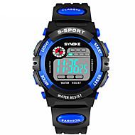 SYNOKE Herre Sportsur / Digital Watch Kalender / Kronograf / Vandafvisende PU Bånd Mode Sort / Dobbelte Tidszoner / Selvlysende i mørke