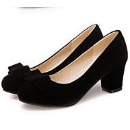 Жен. Замша Весна Удобная обувь Обувь на каблуках На толстом каблуке Черный / Красный / Повседневные