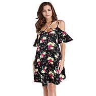 فستان نسائي كلاسيكي عصري بدون ظهر طباعة فوق الركبة فضفاض ورد مع حمالة شاطئ
