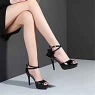 baratos Sapatos Femininos-Mulheres Sapatos Pele Verão Plataforma Básica Sandálias Salto Agulha Peep Toe Preto / Vermelho / Amêndoa