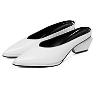 preiswerte -Damen Schuhe Nappaleder Sommer Komfort Cloggs & Pantoletten Blockabsatz Weiß / Schwarz