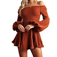 فستان نسائي ثوب ضيق قصير جداً نحيل لون سادة رقبة باتو كم مضيئة, مناسب للخارج / مثير