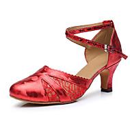 billige Moderne sko-Dame Moderne sko Sateng Høye hæler Tykk hæl Dansesko Gull / Rød