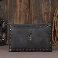 baratos Clutches & Bolsas de Noite-Homens Bolsas Pele Bolsa de Mão Tachas Azul Escuro / Marron / Marron Escuro