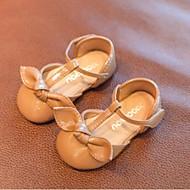 baratos Sapatos de Menina-Para Meninas Sapatos Couro Ecológico Primavera Verão Primeiros Passos Rasos Laço para Bébé Preto / Khaki