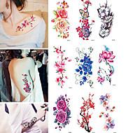 billiga Temporära tatueringar-9 pcs Tatueringsklistermärken tillfälliga tatueringar Blomma Vattenavvisande Body art Kropp / arm / Tattoo Sticker