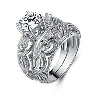 Dames Kubieke Zirkonia Double Twine Bandring S925 Sterling Zilver Bloem Vintage Elegant Modieuze ringen Sieraden Zilver Voor Bruiloft Verloving Ceremonie 6 / 7 / 8 2pcs