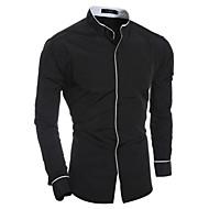 Stående krave Herre - Farveblok Patchwork Basale Skjorte / Langærmet