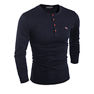 Men's Long Sleeve Pullover - Solid Colored Round Neck