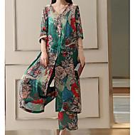 Pentru femei Mărime Plus Size Mâneci Bufante Bumbac De Bază Lung Set - Mată, Pantaloni Plisată / Floral / Picior Larg