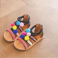 Χαμηλού Κόστους Μωρουδιακά Παπούτσια-Κοριτσίστικα Παπούτσια PU Ανοιξη καλοκαίρι Ανατομικό Σανδάλια Pom-pom για Νήπιο Μαύρο / Μπεζ