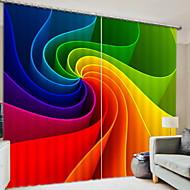 billige Mørkleggingsgardiner-3D gardiner Soverom Geometrisk Polyester Trykket / Blackout