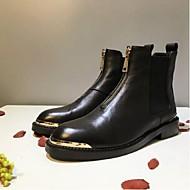 baratos Sapatos Femininos-Mulheres Sapatos Pele Napa Outono & inverno Conforto / Coturnos Botas Salto de bloco Preto