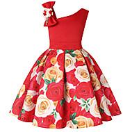 فستان فوق الركبة بدون كم طباعة لون سادة / ورد / ألوان متناوبة مناسب للعطلات رياضي Active / حلو للفتيات أطفال / طفل صغير