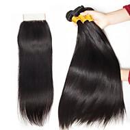 3 paquets avec fermeture Cheveux Malaisiens Droit 8A Cheveux Naturel humain Cheveux humains Naturels Non Traités Cadeaux Costumes Cosplay Tissages de cheveux humains 8-20 pouce Couleur naturelle
