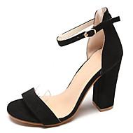 baratos Sapatos Femininos-Mulheres Sapatos Camurça / Couro Ecológico Verão Tira no Tornozelo Sandálias Salto Robusto Preto / Bege / Rosa claro / Festas & Noite