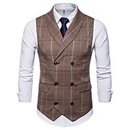 رجالي بني رمادي XXL XXXL 4XL Vest أساسي منقوشة / متقلب / بدون كم / الخريف / الشتاء