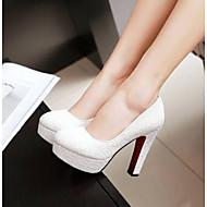 رخيصةأون -نسائي كعوب كعب متوسط حذاء يغطي أصبع القدم PU مريح الصيف أبيض / أزرق / زهري / مناسب للبس اليومي / EU41