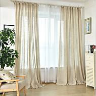 baratos Cortinas Transparentes-Sheer Curtains Shades Sala de Jantar Sólido Linho / Mistura de Algodão Estampado