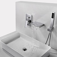 Badkraan - Hedendaagse Chroom Muurbevestigd Messing ventiel Bath Shower Mixer Taps / Single Handle drie gaten