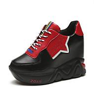 baratos Sapatos Femininos-Mulheres Sapatos Couro Ecológico Primavera Verão Com Laço Tênis Caminhada Creepers Ponta Redonda Branco / Preto / Estampa Colorida