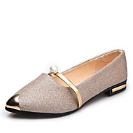 cheap Women's Flats-Women's Comfort Shoes Synthetics Spring &  Fall Casual Flats Low Heel Pointed Toe Sequin Gold / Black / Silver