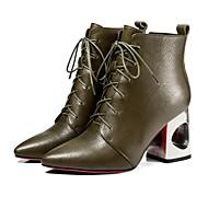 Χαμηλού Κόστους Γυναικείες Μπότες-Γυναικεία Fashion Boots Δερμάτινο Φθινόπωρο Μπότες Κοντόχοντρο Τακούνι Μπότες στη Μέση της Γάμπας Χακί