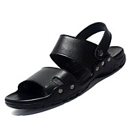 tanie Obuwie męskie-Męskie Komfortowe buty Skórzany Lato Sandały Czarny / brązowy
