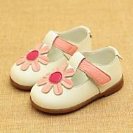 baratos Sapatos de Menina-Para Meninas Sapatos Pele Verão Primeiros Passos Rasos Flor / Velcro para Bebê Branco / Amarelo / Rosa claro