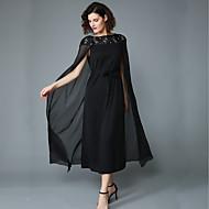 Dame Plusstørrelser Sofistikerede Kjole - Ensfarvet, Perler Maxi Sort