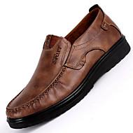 Erkek Ayakkabı Suni Deri İlkbahar & Kış Mokasen & Bağcıksız Ayakkabılar Günlük için Siyah / Kahverengi / Haki