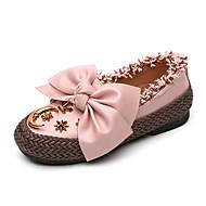 baratos Sapatos de Menina-Para Meninas Sapatos Couro Ecológico Primavera & Outono Sapatos para Daminhas de Honra Rasos Caminhada Rendado / Cadarço / Botão para Infantil Preto / Bege / Rosa claro